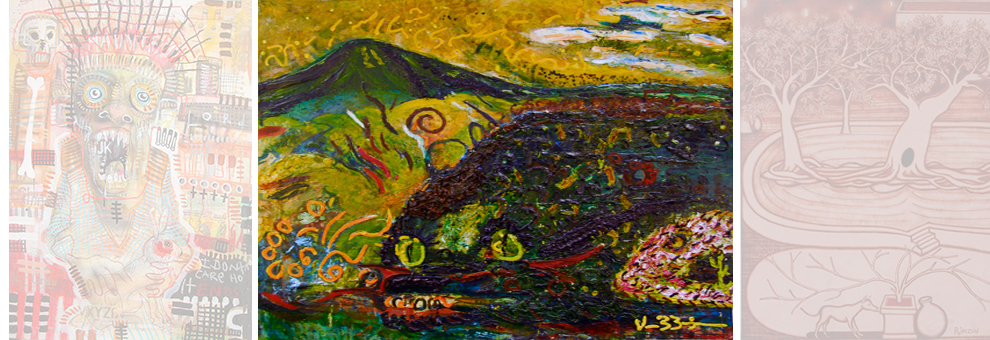 DreamSnakes & The Holy Mountain - Oil on canvas By Vernon Bigman