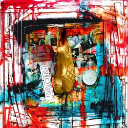 Hanging My Sneakers After An Unrestrained Trip - on Mixed media (On wood panel) By ABSTRACTUS (Steevens and Velez)